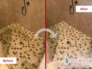 Before and After Picture of a Grout Cleaning Service in Bluffton, SC