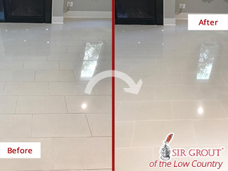 Before and After Picture of a Tile and Grout Cleaning Service in Charleston, SC