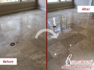 Before and After Picture of a Stone Honing Process in Hilton Head Island, SC
