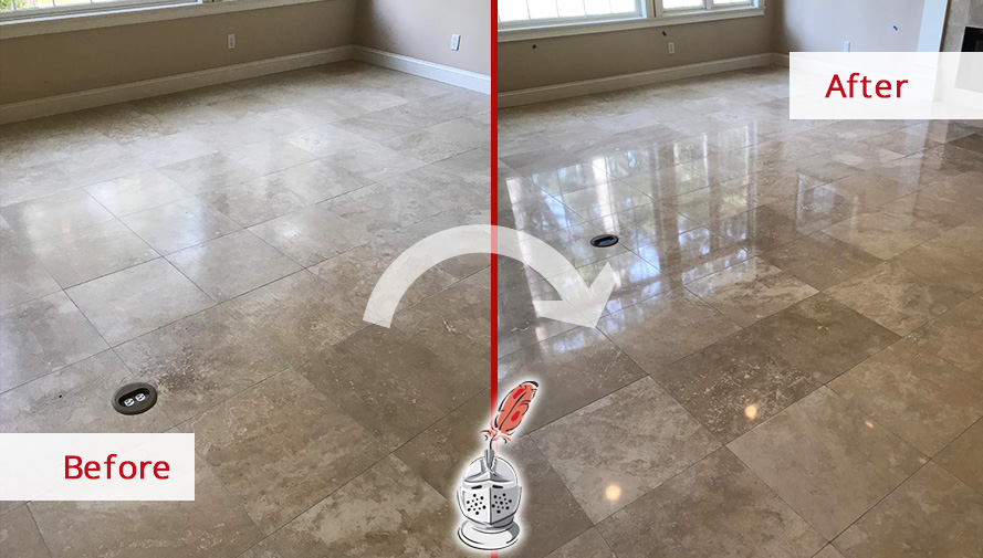 Travertine Floor Before and After a Stone Honing Service in Hilton Head Island, SC