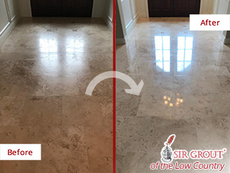 Before and After Picture of a Stone Honing Process in Bluffton, SC