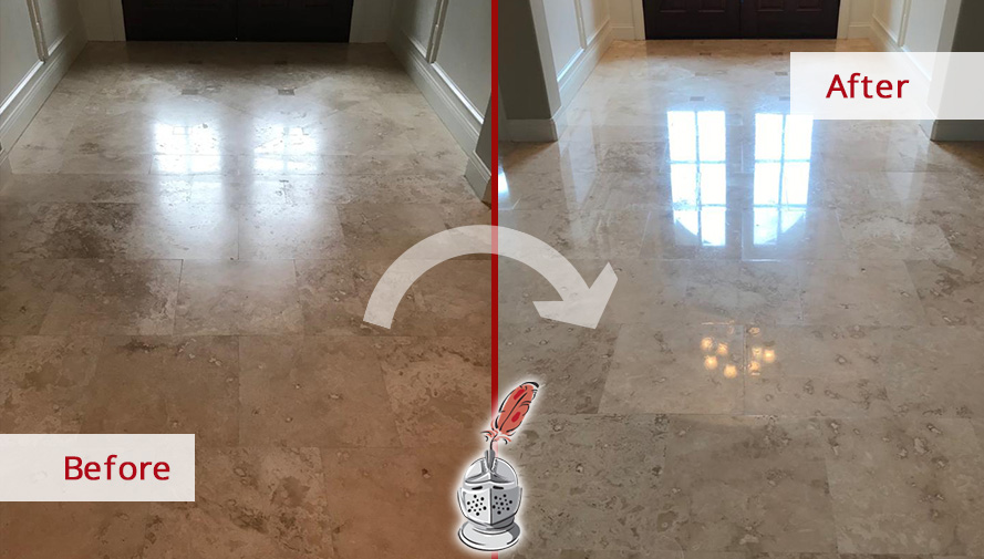 Travertine Floor Before and After a Stone Honing Process in Bluffton, SC