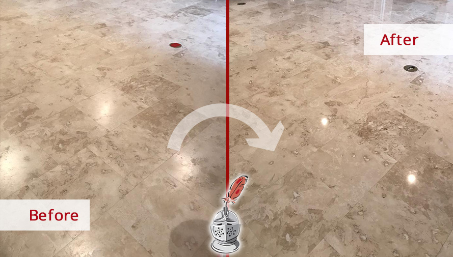 Before and After Picture of a Travertine Floor After a Stone Honing Service in Bluffton, SC