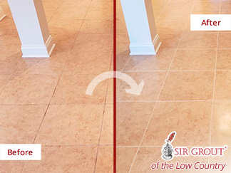 Before and After a Grout Sealing in Bluffton, SC