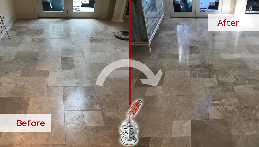 Before and After Picture of a Stone Polishing in Hilton Head Island, SC
