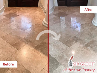 Before and After Picture of a Travertine Floor Stone Polishing in Hilton Head Island, SC