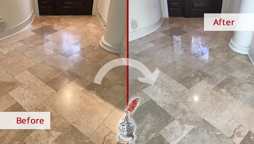 Travertine Floor Before and After a Stone Polishing in Hilton Head Island, SC
