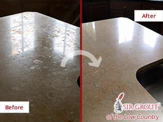 Before and After Picture of a Stone Honing in Bluffton, SC