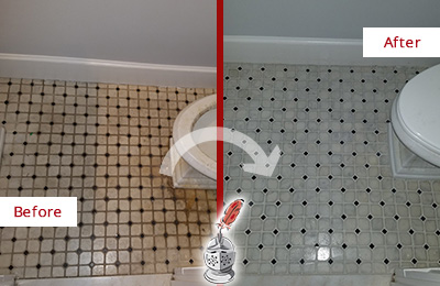 Before and After Picture of a Bathroom Restoration and Grout Cleaning and Recoloring Service