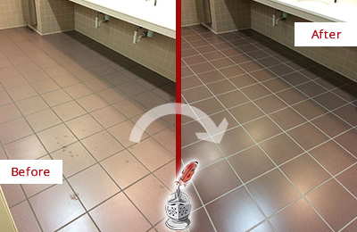 Before and After Picture of a Charleston Restrooms Tile and Grout Cleaned to Remove Embedded Dirt