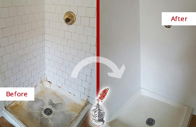 Before and After Picture of a Charleston Shower Tile and Grout Cleaned to Remove Soap Scum