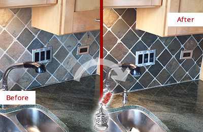 Before and After Picture of a Port Royal Backsplash Caulked to Fix and Prevent Water Leaks