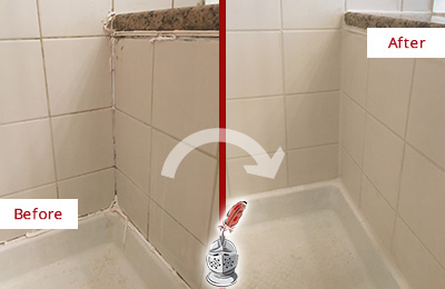 Before and After Picture of a Port Royal Shower Caulked to Repair Damaged Caulking