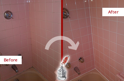 Before and After Picture of a Port Royal Bathtub Caulked to Eliminate Mold