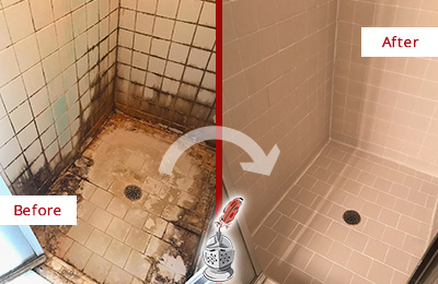 Before and After Picture of a Port Royal Shower Caulked to Fix and Prevent Water Damage