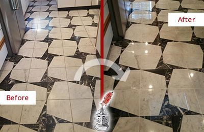 Before and After Picture of a Dull Vernonburg Marble Stone Floor Polished To Recover Its Luster