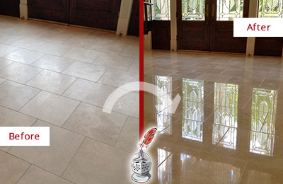 Before and After Picture of a Dull Vernonburg Travertine Stone Floor Polished to Recover Its Gloss