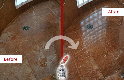 Before and After Picture of a Vernonburg Marble Stone Shower Polished to Eliminate Mineral Deposits
