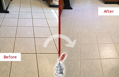 Before and After Picture of a Mount Pleasant Kitchen Ceramic Floor Sealed to Protect From Dirt and Spills