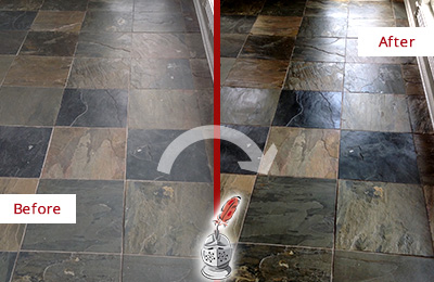 Before and After Picture of a Dull Mount Pleasant Slate Floor Sealed to Bring Back Its Colors