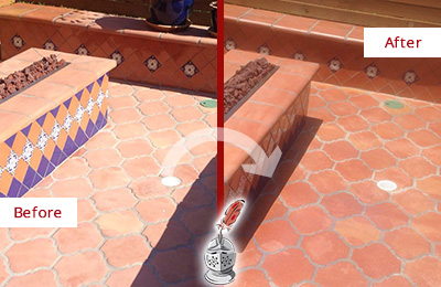 Before and After Picture of a Dull Mount Pleasant Terracotta Patio Floor Sealed For UV Protection