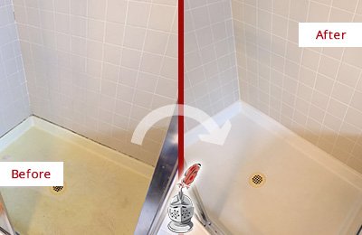 Before and After Picture of a Mount Pleasant Shower Sealed to Remove and Protect Against Mold