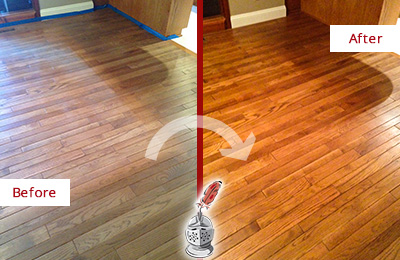 Before and After Picture of a Meggett Wood Deep Cleaning Service on a Dull Floor to Recover Its Sheen