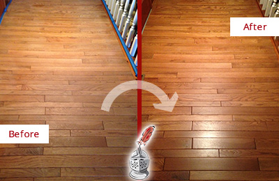 Before and After Picture of a Meggett Wood Deep Cleaning Service on a Dull Hallway