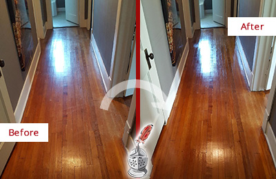 Before and After Picture of a Meggett Wood Deep Cleaning Service on a Floor to Eliminate Scratches