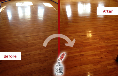 Before and After Picture of a Meggett Wood Deep Cleaning Service on a Room Floor to Remove Scratches
