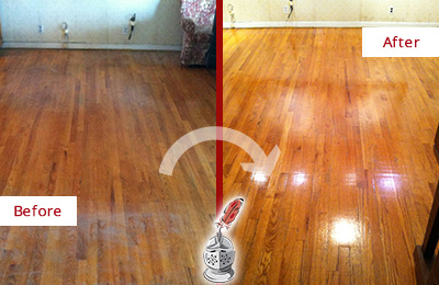 Before and After Picture of a Pooler Wood Deep Cleaning Service on a Stained Floor