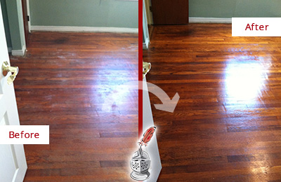Before and After Picture of a Meggett Wood Deep Cleaning Service on a Dull Floor to Remove Stains