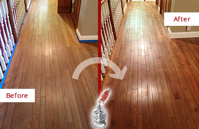 Before and After Picture of a Meggett Wood Deep Cleaning Service on a Worn Out Floor