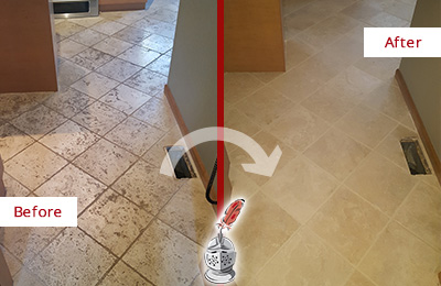Before and After Picture of a Bloomingdale Kitchen Marble Floor Cleaned to Remove Embedded Dirt