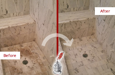 Before and After Picture of a Dirty Bloomingdale Marble Shower Cleaned to Eliminate Dark Stains