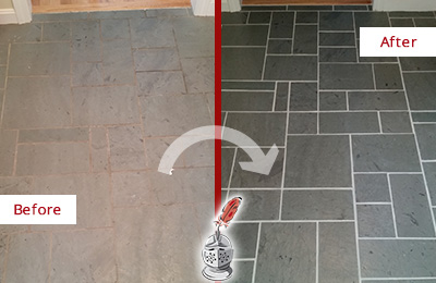 Before and After Picture of a Bloomingdale Slate Floor Cleaned to Remove Deep-Seated Dirt