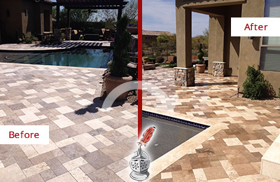 Before and After Picture of a Dull Bloomingdale Travertine Pool Deck Cleaned to Recover Its Original Colors