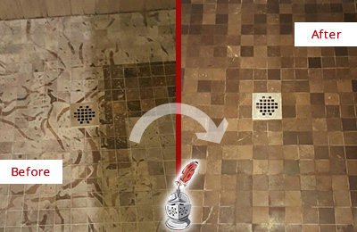 Before and After Picture of a Stained Bloomingdale Marble Shower Floor Cleaned to Remove Etching