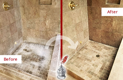 Before and After Picture of a Bloomingdale Travertine Shower Cleaned to Eliminate Water Spots