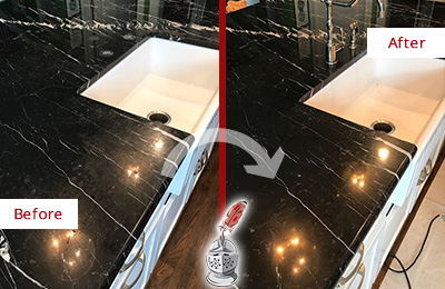 Before and After Picture of a Mount Pleasant Marble Kitchen Countertop Stone Sealed to Avoid Water Damage