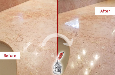Before and After Picture of a Seabrook Island Marble Stone Vanity Top Sealed to Avoid Water Marks