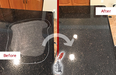 Before and After Picture of a Savannah Granite Kitchen Countertop Honed to Eliminate Scratch