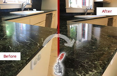 Before and After Picture of a Port Royal Marble Kitchen Countertop Honed to Remove Water Marks