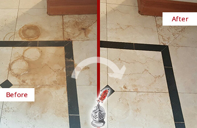 Before and After Picture of a Port Royal Marble Floor Honed to Remove Rust Stains