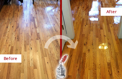 Before and After Picture of a Seabrook Island Hard Surface Restoration Service on a Worn Out Wood Floor