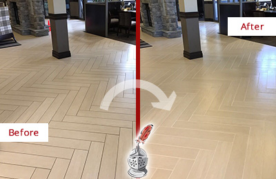 Before and After Picture of a James Island Lobby Floor Cleaned to Even the Grout Color