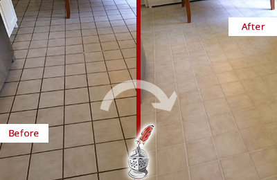 Before and After Picture of a Savannah Kitchen Tile Floor with Recolored Grout