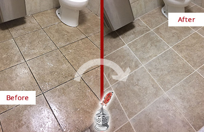 Before and After Picture of a Savannah Office Restroom Floor Recolored Grout
