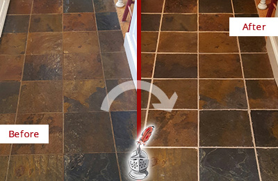 Before and After Picture of a Hollywood Slate Floor Recolored Grout