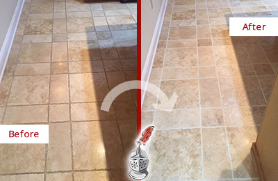 Before and After Picture of a Savannah Travertine Kitchen Floor Recolored Grout